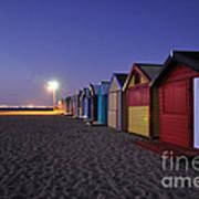 Beach Sheds At Dusk Poster by Nishan De Silva