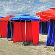 Beach Umbrellas Nice France Poster