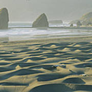 Beach With Dunes And Seastack Rocks Poster