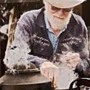 Bearded Miner Making Billy Tea Poster