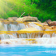 Beautiful Cascade Fall In Tropical Forest Poster
