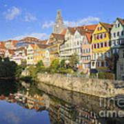 Beautiful German Town Tuebingen - Neckar Waterfront Poster by Matthias Hauser