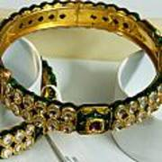 Beautiful Green And Purple Covered Gold Bangles With Semi-precious Stones Inlaid Poster by Ashish Agarwal