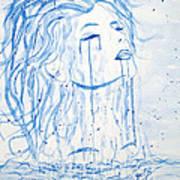 Beautiful Sea Woman Watercolor Painting Poster by Georgeta  Blanaru