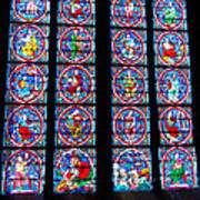 Beautiful Stained Glass At Notre Dame Cathedral Poster