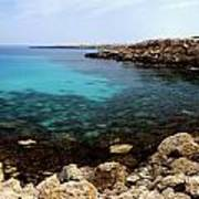 Beautiful View On Mediterranean Sea Cape Gkreko In Cyprus Poster