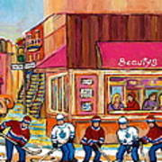 Beauty's Restaurant-montreal Street Scene Painting-hockey Game-hockeyart Poster