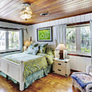 Bedroom With A Wood Ceiling Poster
