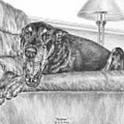 Bedtime - Doberman Pinscher Dog Art Print Poster by Kelli Swan