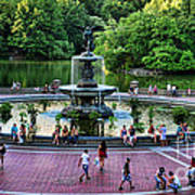 Bethesda Fountain Overlooking Central Park Pond Poster by Paul Ward