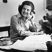 Betty Ford Works At Her Desk Situated Poster