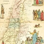 Biblical Map Palestine Poster