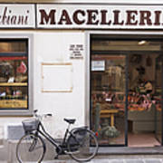 Bicycle In Front Of Italian Delicatessen Poster