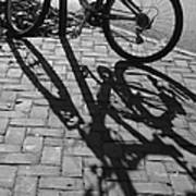 Bicycle Shadows In Black And White Poster