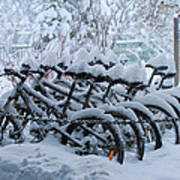 Bicycles In The Snow Poster