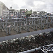 Bicycles Parked On City Sidewalk Poster