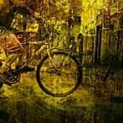 Bicyclist On The Move No. Ol4 Poster