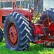 Big Red Rubber Tire Tractor Poster