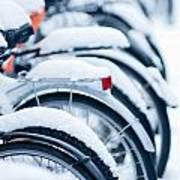 Bikes In Snow Poster