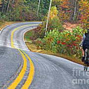 Biking In Autumn Poster