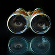 Binoculars With Eyes Looking At You Poster