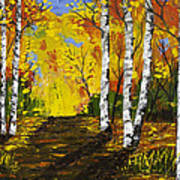 Birch Trees And Road Fall Painting Poster