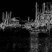 Black And White Fishing Boats Poster