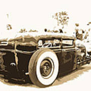 Black And White Hot Rod Poster