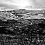 Black And White Painted Hills Poster