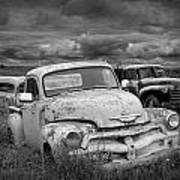 Black And White Photograph Of A Junk Yard With Vintage Auto Bodies Poster