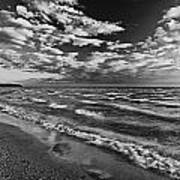 Black And White Shoreline Of Lake Poster