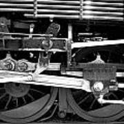 Black And White Steam Engine - Greeting Card Poster