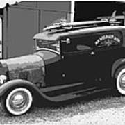 Black And White Surf Rod Poster