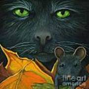 Black Cat And Mouse Poster by Linda Apple