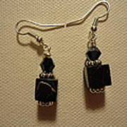 Black Cube Drop Earrings Poster