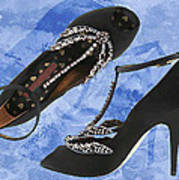 Black Satin And Crystal Dragonfly Pumps Poster