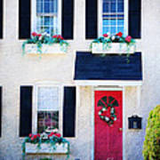 Black Window Shutters With Flowers Poster