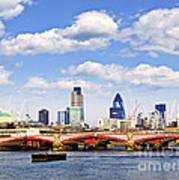 Blackfriars Bridge With London Skyline Poster