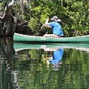 Blue Amongst The Greens - Canoeing On The St. Marks Poster