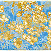 Blue And Gold Floral Abstract Poster
