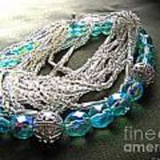 Blue And Silver Bead Bracelet Poster