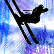 Blue And White Splashes With Ski Jump Poster