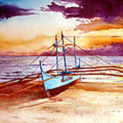 Blue Boat On The Shore Poster
