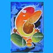Blue Elephant Abstraction Poster