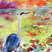 Blue Heron Sunset Watercolor By Ginette Poster by Ginette Callaway