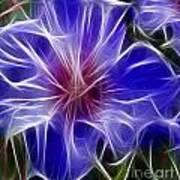 Blue Hibiscus Fractal Panel 3 Poster by Peter Piatt