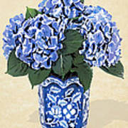 Blue Hydrangeas In A Pot On Parchment Paper Poster