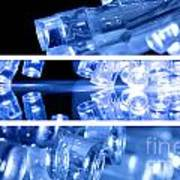 Blue Led Lights In Three Strips Poster