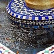 Blue Mosaic Fountain II Poster