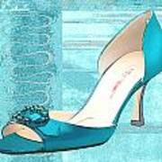 Blue Satin Ball Gown Pump Poster